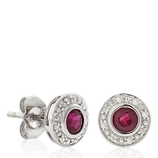 Ruby & Diamond Stud Earrings 14K