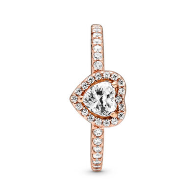 Pandora Rose™ Sparkling Elevated Heart CZ Ring