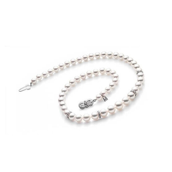 "Mikimoto Akoya Cultured Pearl Strand with Diamond Rondelles 18"", 18K"