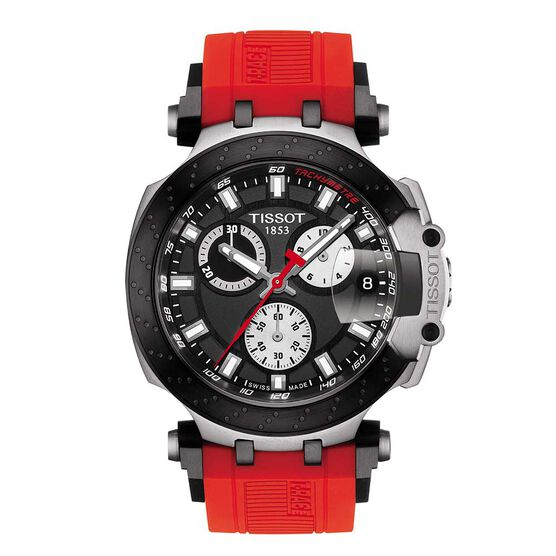 Tissot T-Race Chronograph Red Rubber Strap Watch, 43mm