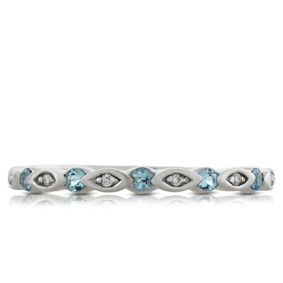 Blue Topaz & Diamond Band 14K