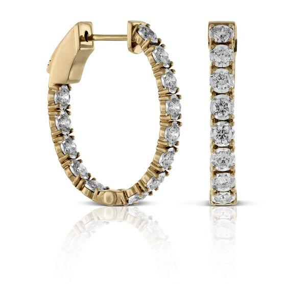 Rose Gold Oval Diamond Hoop Earrings 14K, 1.50 ctw.