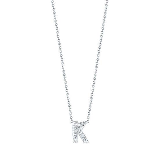 Roberto Coin Tiny Treasures Diamond Initial Pendant 18K Letter 'K'
