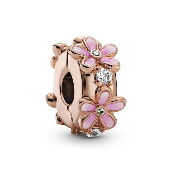 Pandora Pink Daisy Enamel & CZ Spacer Clip Charm