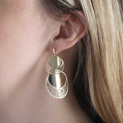 Toscano Tiered Disc Earrings 14K