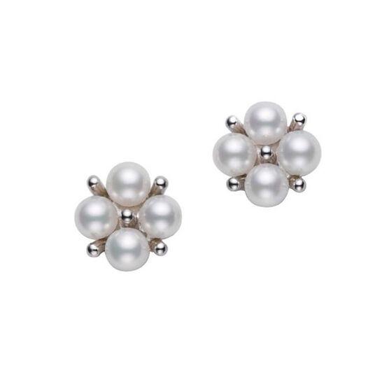 Mikimoto Akoya Cultured Pearl Cluster Earrings 18K