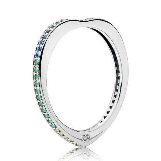 PANDORA Multi-Colored CZ & Crystal Arc of Love Ring