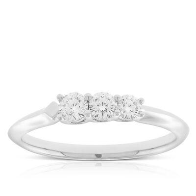 Jade Trau for Signature Forevermark Graduated 3-Stone Diamond Ring in Platinum