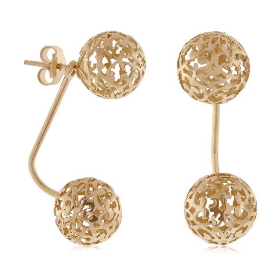 Toscano Double Ball Earrings 14K