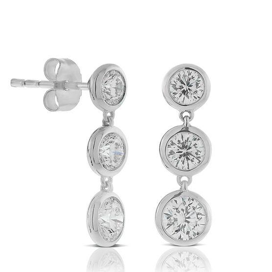 Signature Forevermark Triple Diamond Dangle Earrings 18K