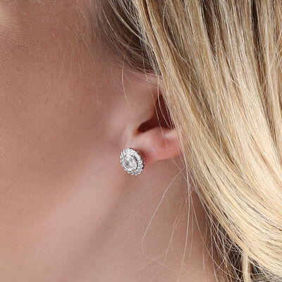 Bezel Set Halo Diamond Earrings 14K, 2 ctw.