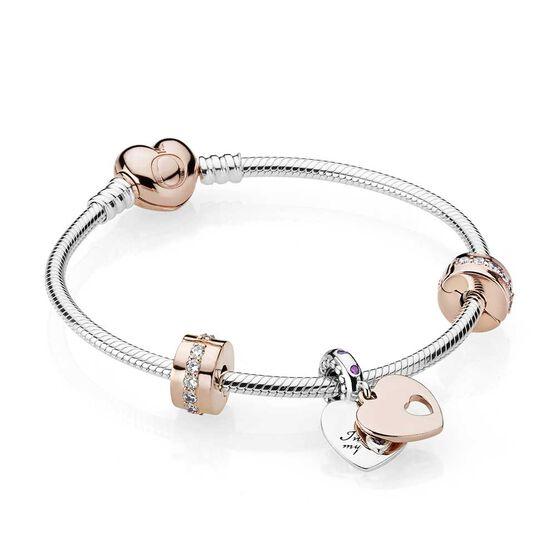 PANDORA In My Heart Bracelet Gift Set, PANDORA Rose™, CZ & Crystal | Tuggl