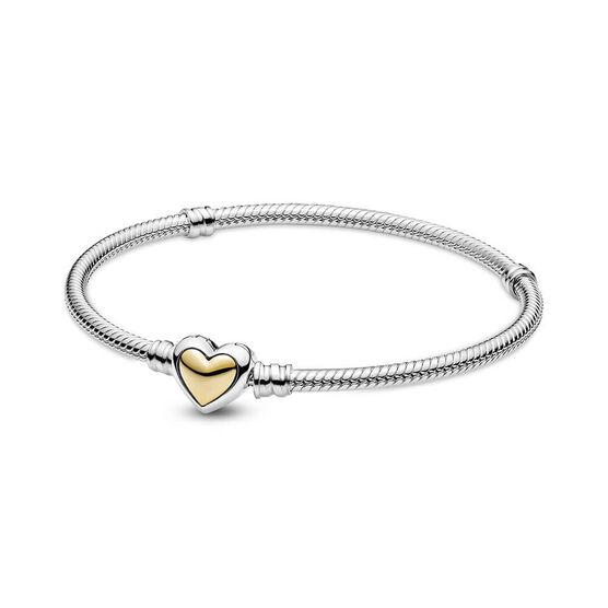 Pandora Domed Golden Heart Clasp Snake Chain Bracelet