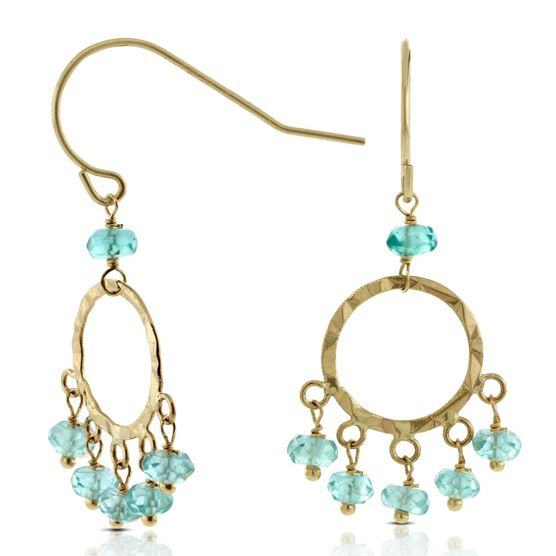 Apatite Bead Earrings 14K