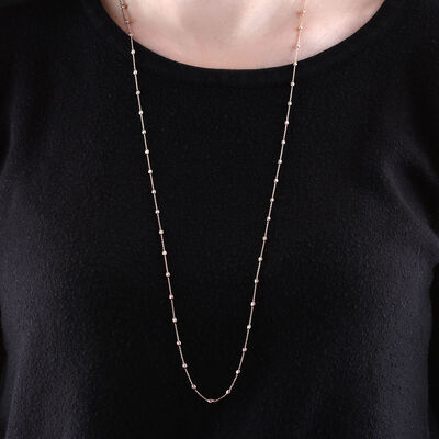 """Rose Gold Moon Cut Oval Bead Station Necklace 14K, 34"""""""