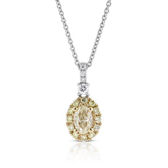 Yellow & White Diamond Necklace 14K