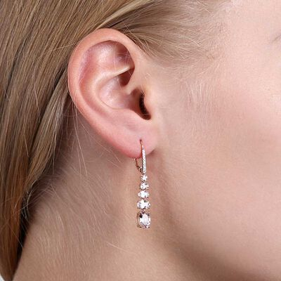 Rose Gold Graduated Color Morganite & Diamond Earrings 14K