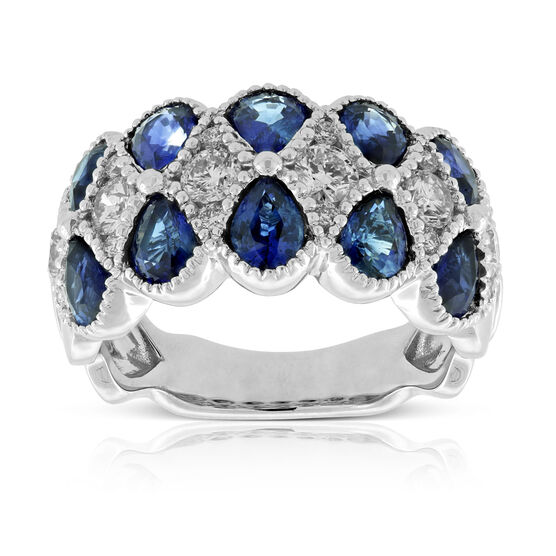 Beaded Twist Sapphire & Diamond Ring 14K