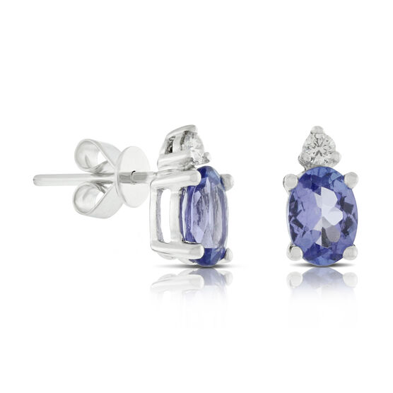 Oval Tanzanite & Diamond Earrings 14K