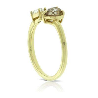 Fancy Shape Brown & White Diamond Open Shank Ring 14K