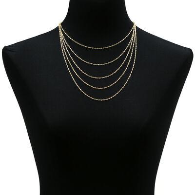Sparkle Bib Necklace, 14K