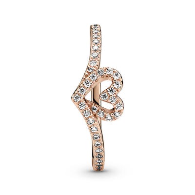 Pandora Rose™ Sparkling Wishbone Heart CZ Ring