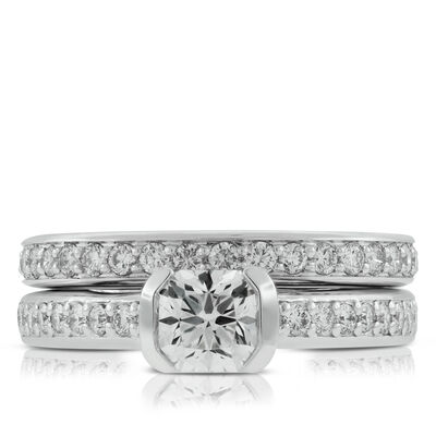 Signature Forevermark Black Label Square Diamond Bridal Set 18K