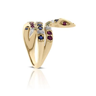 Sapphire, Tsavorite, Ruby & Diamond Snake Ring 14K