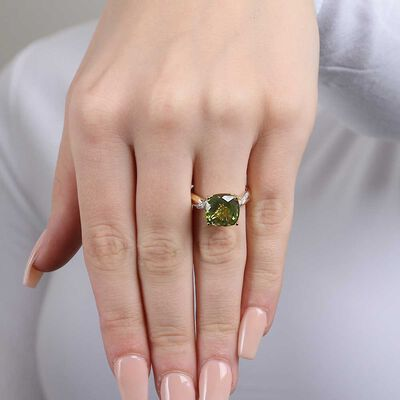 Checkered Peridot & Diamond Ring 14K