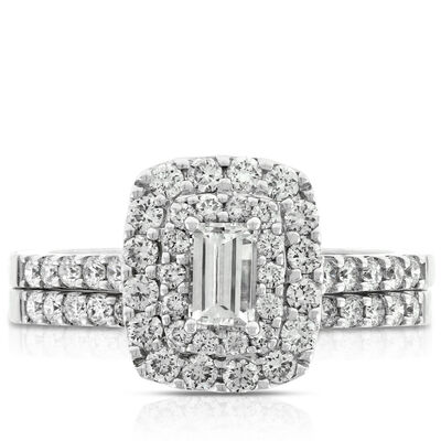 Double Halo Diamond Wedding Set 14K