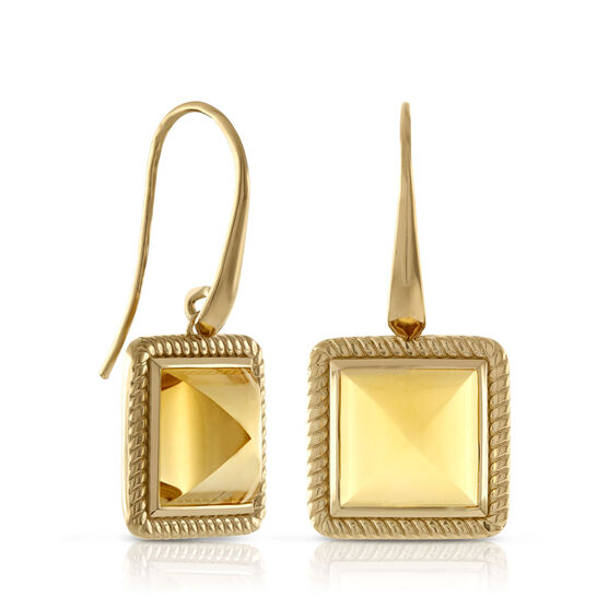 Citrine Pyramid Rope Bezel Set Earrings 14K