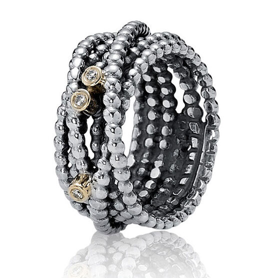 PANDORA Entangled Beauty Diamond Ring, Silver & 14K RETIRED