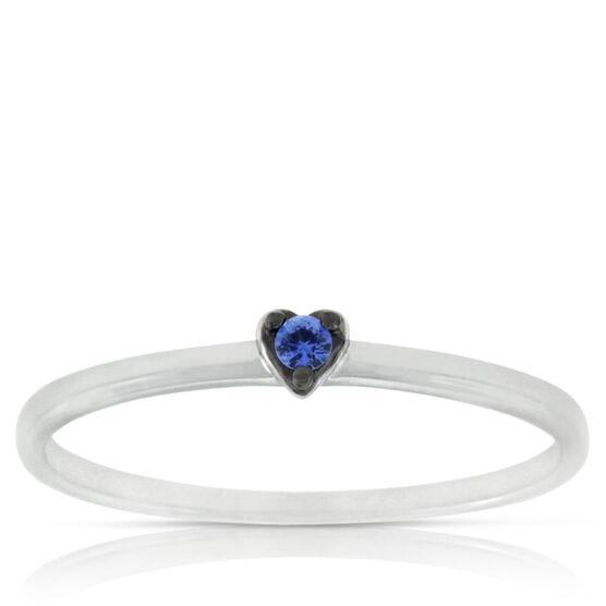 Sapphire Heart Ring 14K