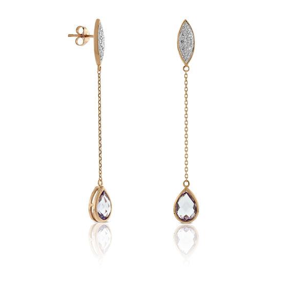 Rose Gold Amethyst & Diamond Dangle Earrings 14K