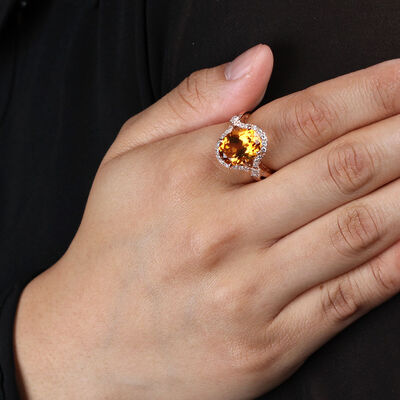 Rose Gold Citrine & Diamond Halo Ring 14K