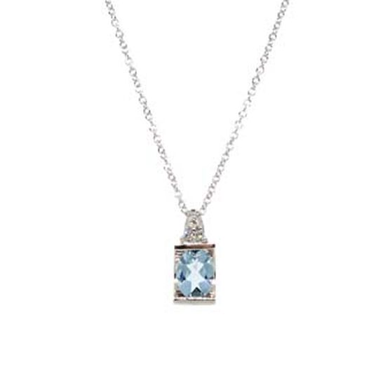 Aquamarine & Diamond Pendant 14K