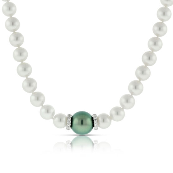 Mikimoto Cultured Akoya Pearl & Black South Sea Necklace 18K