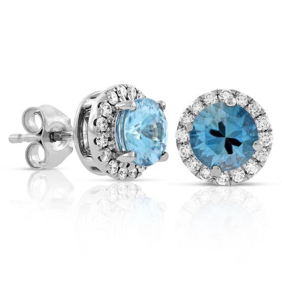Blue Zircon & Diamond Earrings 14K