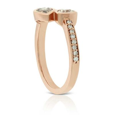 Rose Gold Brown & White Diamond Bypass Ring 14K
