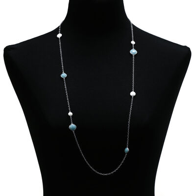 "Lisa Bridge Amazonite & White Agate Necklace, 35"""