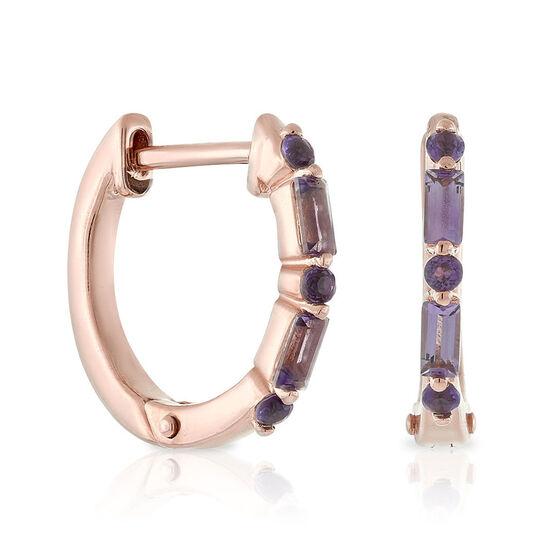 Rose Gold Amethyst Huggie Hoop Earrings 14K