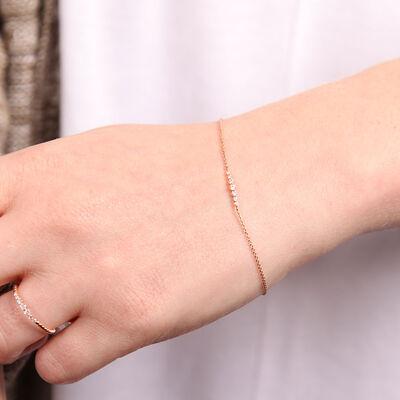 Rose Gold Diamond Station Bracelet 14K