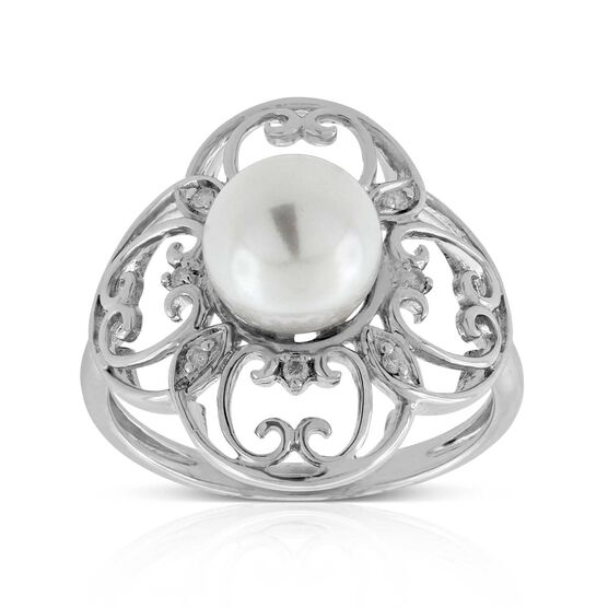 Freshwater Cultured Pearl Filigree Ring 14K