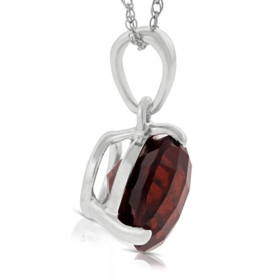Checkered Garnet Pendant 14K, 8mm