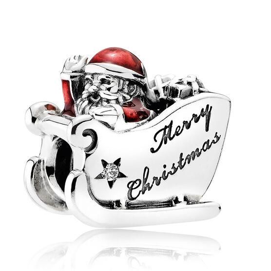 Pandora Sleighing Santa Charm, Red Enamel