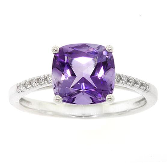 Cushion Cut Amethyst & Diamond Ring 14K