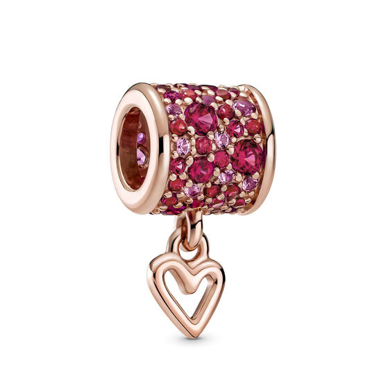 Pandora Pavé Synthetic Ruby & Crystal Freehand Heart Barrel Charm