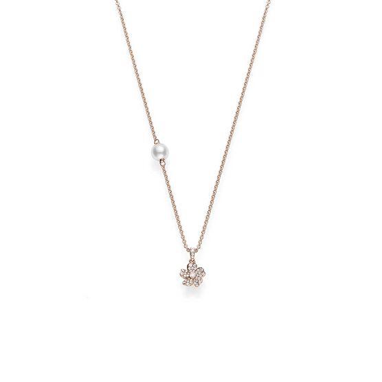 Rose Gold Mikimoto Akoya Cultured Pearl & Diamond Cherry Blossom Necklace 18K