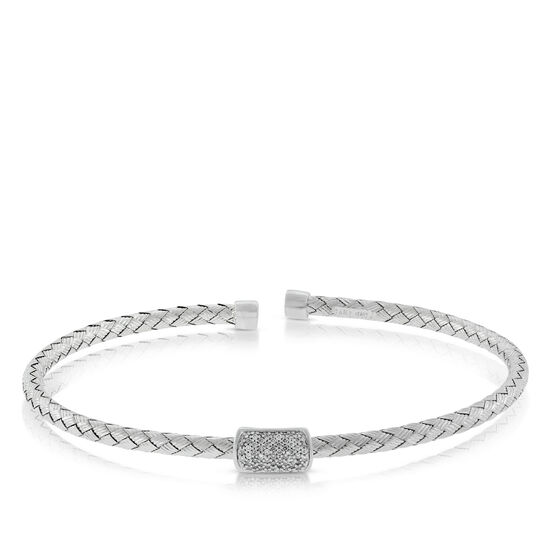 Woven Cuff Diamond Bangle 14K