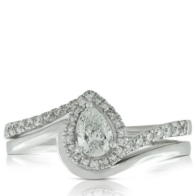 Pear Diamond Bridal Set 14K